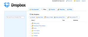 Screenshot of web view of Dropbox