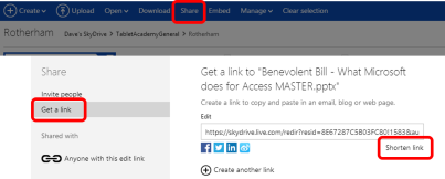 image showing how to share a link using Skydrive, Select Share, Get a Link, Shorten Link
