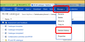 Image showing the history settings within OneDrive