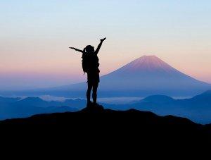 Person atop a mountain